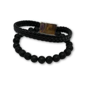 Lava stone/F Leather Bracelet
