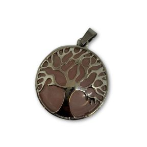 Rose Qrtz Tree of Life Pendant