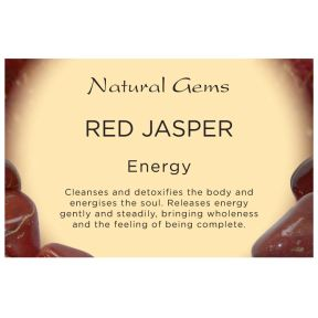Natural Gems - Red Jasper Crystal Information Cards - Pack of 50