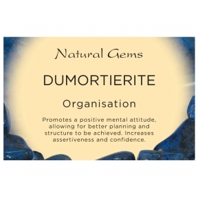 Natural Gems - Dumortierite Crystal Information Cards - Pack of 50