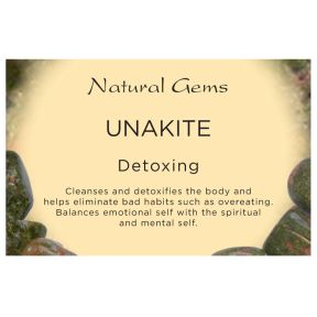 Natural Gems - Unakite Crystal Information Cards - Pack of 50