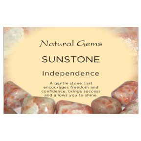 Natural Gems - Sunstone Crystal Information Cards - Pack of 50