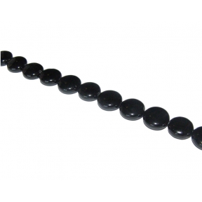 Black Agate Flat Round Beads 12mm