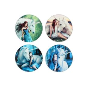 Anne Stokes Glass Unicorn Coasters Pack of 4