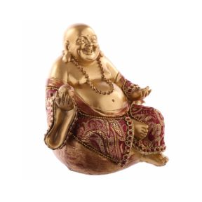 Chinese Buddha Sitting - Small Red and Gold Effect