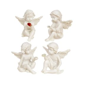Sitting Cherub Holding Gemstone -  Pack of 12