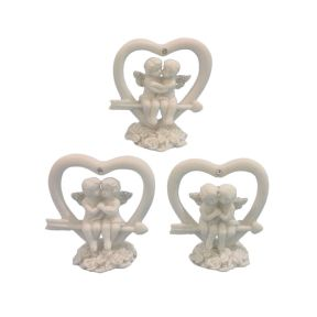 Glitter Cherub Sitting in Cupids Arrow Heart Pack of 12