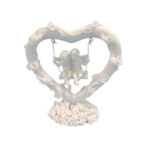 Swinging Rose Heart Cherubs