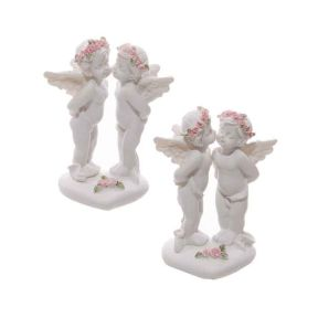 Cherubs Kissing with Heart and Pink Roses - Pk4