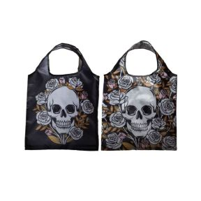 Foldable Reusable Shopping Bag - Skulls & Roses - Pack of 24