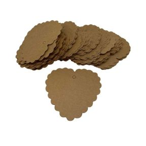 Craft Brown Heart Gift Tag - Pack of 100