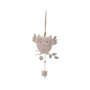 Decorative Hanging White Owl with Bell - Pack of 12