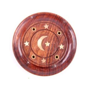 Sheesham Wood Round Ash Catcher Moon & Stars Inlay - Pack of 10