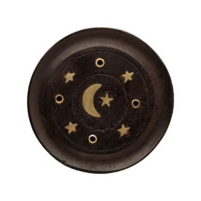 Mango Wood Moon and Stars Round Black Ashcatcher Incense Burner - Pack of 10