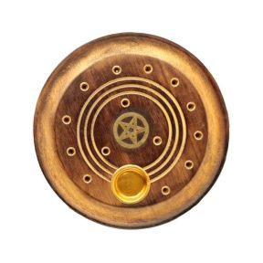 Mango Wood Round Pentagram Ashcatcher Incense Burner - Pack of 10