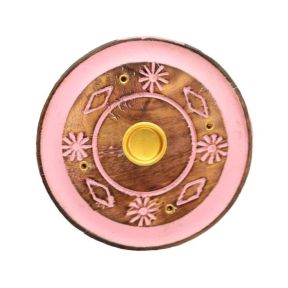 Mango Wood Round Pink Patterned Ashcatcher Incense Burner - Pack of 10