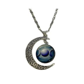 Triple moon pendant & chain