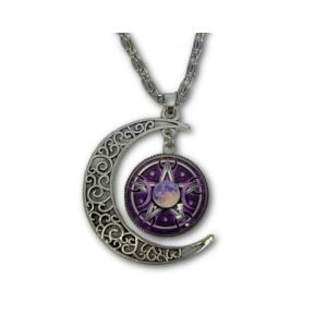 Pentagram moon pendant & chain
