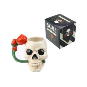 Skull Mug with Rose Handle