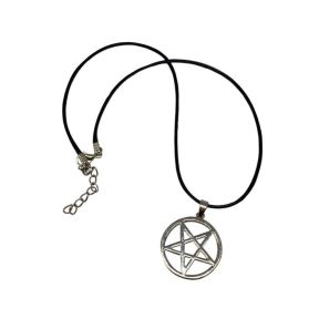 Waxed Necklace with Silver Pentagram Pendant