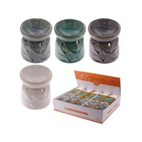 Small Ceramic Eden Oil Burner with Leaves Pattern - Pack of 20
