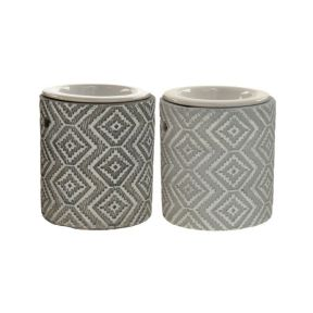Grey Patterned Concrete Oil Burner with Ceramic Dish