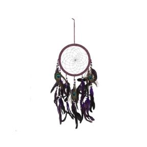 Purple Peacock Feather Dream Catcher