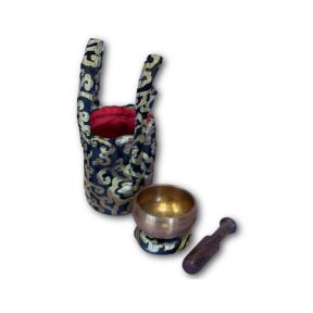 Black hand beaten singing bowl gift set