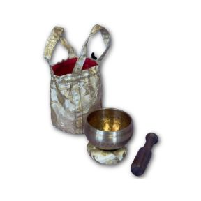 Gold hand beaten singing bowl gift set