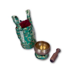 Green hand beaten singing bowl gift set
