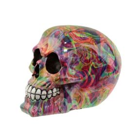 Rainbow Marble Effect Skull Ornament