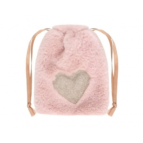 Plush Pink Heart Drawstring Bag