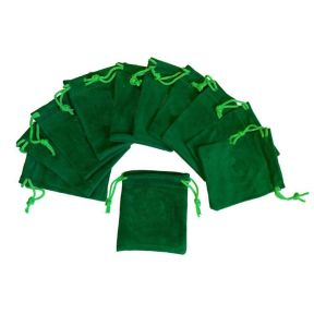 Green Velvet Pouch - Pk of 10