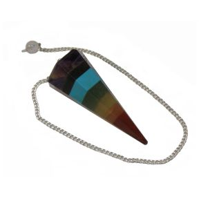 Chakra Faceted Pendulum with 7 Bead Chakra Chain