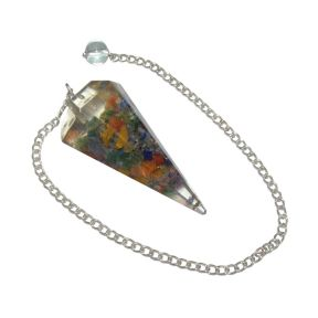 Mix Crystal Organite Faceted Pendulum
