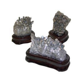 Silver Coated Quartz Clusters on Wood