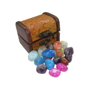 Treasure Chest - Leather bound mini chest includes crystals
