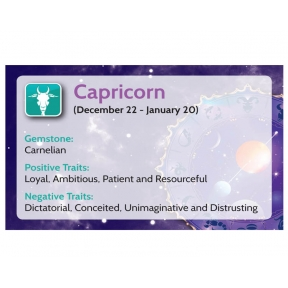 Natural Gems - Zodiac Information Cards - Capricorn - Pack of 50