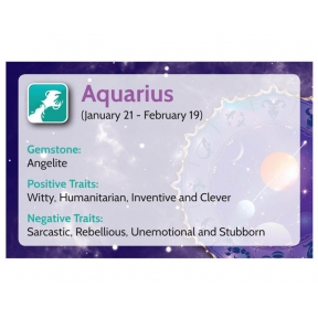 Natural Gems - Zodiac Information Cards - Aquarius - Pack of 50