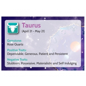 Natural Gems - Zodiac Information Cards - Taurus - Pack of 50