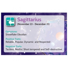 Natural Gems - Zodiac Information Cards - Sagittarius - Pack of 50