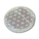 7cm Selenite Engraved Flower of Life Mandala Charging Plate