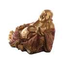 Chinese Buddha Sitting Hand on Sack - Red and Gold Effect