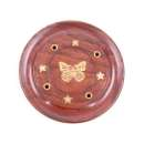 Sheesham Wood Round Ash Catcher Butterfly Inlay - Pack of 10